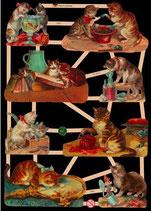 Glanzbilder-Bogen Katzen