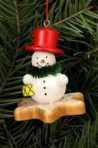 Baumbehang Schneemann auf Lebkuchenstern