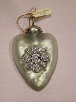 Herz-Hänger aus Glas matt-silber mit Ornament