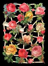 Glanzbilder-Bogen Rosen gelb/rosa