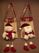 Stoff-Taschen Schneemann und Nikolaus