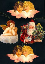 Geschenkanhänger Glanz-Reliefbilder Engel/Nikolaus