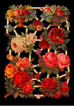 Glanzbilder-Bogen Rosen rot