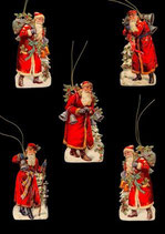 Geschenkanhänger Glanz-Reliefbilder Nikolaus mit Baum