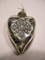 Herz-Hänger aus Glas silber mit Ornament