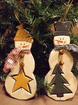 Holz-Schneemann mit Stern oder Baum
