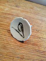 Knop vogel zwart wit, 4 cm, prijs per stuk