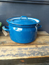 Brocante blauwe emaille pan