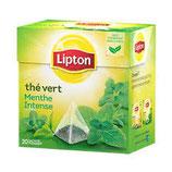 Thé parfumé menthe intense LIPTON, 20 sachets pyramide, 32g