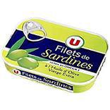 Produits U Filets sardines à l'huile olive vierge extra U bte 1/7 100g