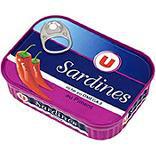Sardines à l'huile de tournesol et piment U boîte 1/5 135g