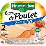 Blanc de poulet -25% de sel FLEURY MICHON, 2 tranches, 80g