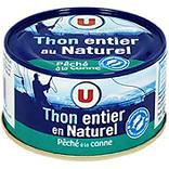 Thon entier naturel pêché canne U boîte 1/6 93g