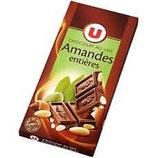 U Chocolat Lait amandes 200 gr