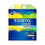 Tampons avec applicateurs Tampax Compak, format d'essai de 16 unités