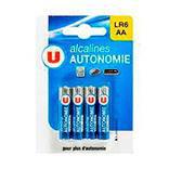 Piles alcaline autonomie LR6 U, 4 unités