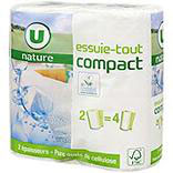 Essuie-tout blanc compact U NATURE x2 = 4 rouleaux