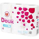 Papier toilette doux blanc 2 plis U x6 rouleaux