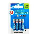 Pile alcaline autonomie LR03 U, 4 unités