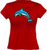 Ladies´ Classic T-Shirt, Froschteich® Delfin, Aufdruck vorne, Gr. XS - XXL, 100% Bio-Baumwolle