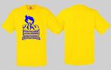 Pyroshirt Gelb Blauer Aufdruck