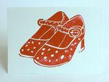 リトアニア製 手刷り版画カード  オフ《レッドシューズ》