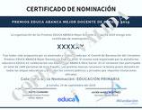 Certificado Nominación Premios EDUCA ABANCA. Mejor Docente de España 2019