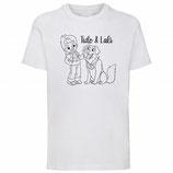 T-shirt A Wit /Zwart (korte mouw) + Kinderboek Tido & Lali - Speeltuin naar de Maan