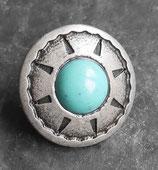 Concho rond natif vieil argent - turquoise