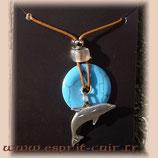 Pendentif dauphin et turquoise