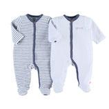 Noukie's - Pack DUO de pyjamas (bleu et blanc VELOURS)