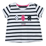"WAM - T-shirt ""Ladyweek"" rayé navy"