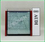 AUDI.  Un Porte certificat simple pour assurance ou CT avec logo Audi (fond noir ou transparent)