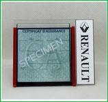 RENAULT.  Un Porte certificat simple pour assurance ou CT avec logo Renault (fond noir ou transparent)
