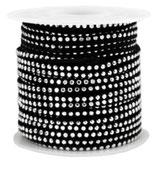 Wildlederband 3mm - schwarz mit silbernen Nieten