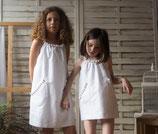 vestido borlas blanco