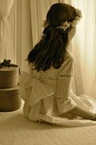 Vestido comunión blanco o beige largo