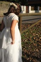 Vestido comunión brocado y tul