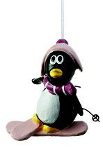 Pinguin auf Skiern zum Hängen aus Pappaché