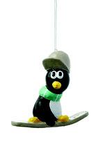 Pinguin auf Snowboard zum Hängen aus Pappaché
