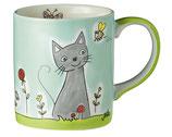 Becher Katze in Blumenwiese