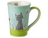 Teebecher Katze in Blumenwiese