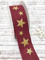 Motivband Sterne weinrot 40mm - 2 Meter