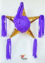 Gold/Violett Stern-Piñata mit 5 Spitzen