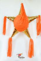 Gold/Orange Stern-Piñata mit 5 Spitzen