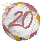20. Geburtstag rosa, Happy Birthday, Folienballon heliumgeignet