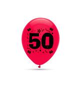 """50. Geburtstag, 8 große Ballons gemischt mit 2-seitigem Druck, 30cm Durchmesser, 12"""" heliumgeignet"""