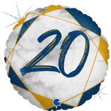 20. Geburtstag blau, Happy Birthday, Folienballon heliumgeignet