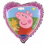 Folienballon Herz  Peppa Wutz mit Teddy ca. 45 cm