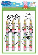 Jumbo Farbstifte Set Peppa Pig - 5 Stifte und 20 Malvorlagen